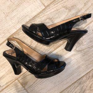 Sofft Slingback Platform Heels, Black Leather Croc